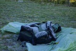 frost on the pack in the morning. thats what you get when you sleep at 11,000 feet.