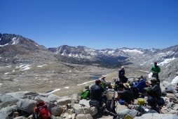 a crew of hikers on top of mather pass.