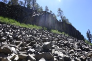 Devils post pile. weird hexagon shaped rocked formed by magma