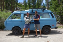 so this is roccocean. he is a badass. he helps hikers by shuttling them where they need to go. he goes from mexico to canida like the rest of us. he shuttled on the A.T. last year and gave me a few rides. i have ran into him a few times on the pct this year. i have this same picture on the Appalachian trail.