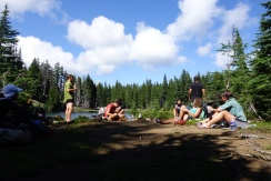 This was a really great swimming spot with about 14 hikers. near the top of a mountain in oregon. alpine lakes, wahoo!