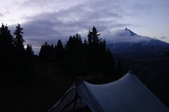 epic camping with a view of mt Jefferson.