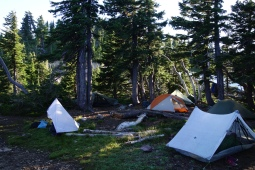 base camp for our 63 mile day. near mt jefferson.