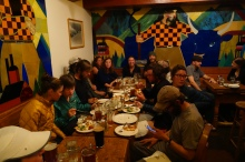 tons of hiker friends in the basement of timberline lodge in the bar.