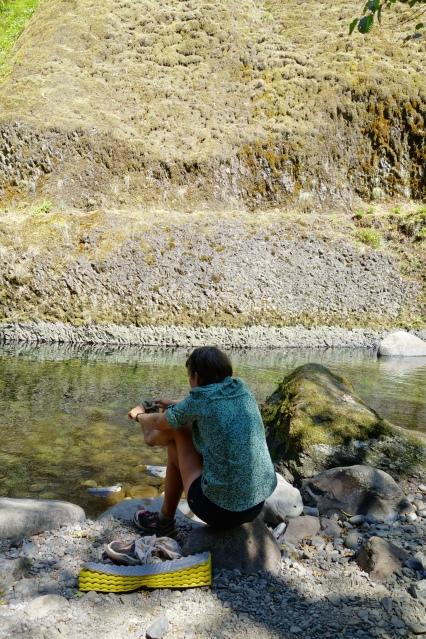 Penguine washing her feet on the eagle creek alternate trail into cascade locks.