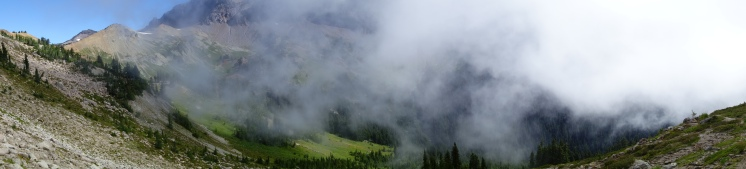 the fog lifts as we enter into Goat Rocks Wilderness.
