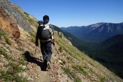 G String hiking on a ridge