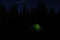 My Tent With a shooting plane in the background.