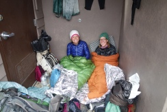 Hiding from the rain and the cold at Harts pass.